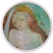 Woman Of Sorrows Round Beach Towel