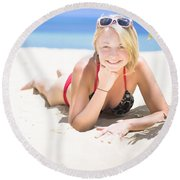 Woman On A Happy And Relaxing Holiday Break Round Beach Towel