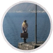 Woman On Jetty Round Beach Towel