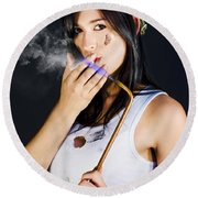Woman Welding Smoking Cigarette Round Beach Towel
