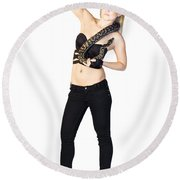 Woman With Pet Snake Round Beach Towel