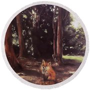 Woodland Fox Round Beach Towel
