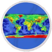 Round Beach Towel featuring the painting World Map Art by Georgi Dimitrov
