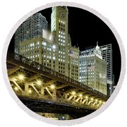 Round Beach Towel featuring the photograph Wrigley Building At Night by Sebastian Musial