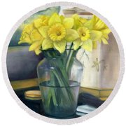 Yellow Daffodils Round Beach Towel