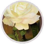 Yellow Rose Round Beach Towel by Blue Sky