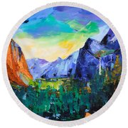Yosemite Valley - Tunnel View Round Beach Towel by Elise Palmigiani