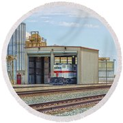 Foster Farms Locomotives Round Beach Towel by Jim Thompson