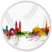 Zurich Switzerland Skyline Round Beach Towel