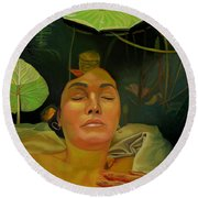 Round Beach Towel featuring the painting 10 30 A.m. by Thu Nguyen
