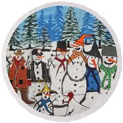 10 Christmas Snowmen  Round Beach Towel