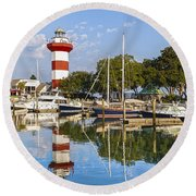 Lighthouse On Hilton Head Island Round Beach Towel