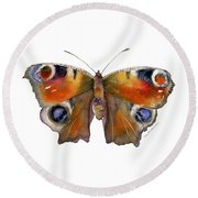 10 Peacock Butterfly Round Beach Towel