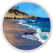 1000 Steps Beach In Laguna Beach California Round Beach Towel
