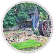 Sixes Mill On Dukes Creek Round Beach Towel