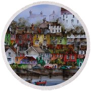 107 Windows Of Kinsale Co Cork Round Beach Towel