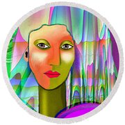 1079 - Mysterious  Lady With A Veil 2017 Round Beach Towel