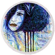 Vintage Hair Comb Round Beach Towel by Natalie Holland