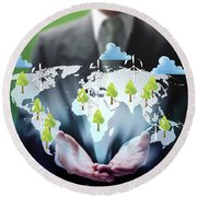 Business Abstract Round Beach Towel