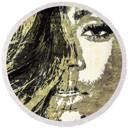 Round Beach Towel featuring the digital art Rihanna by Svelby Art