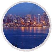 12th Man Seattle Skyline Reflection Round Beach Towel