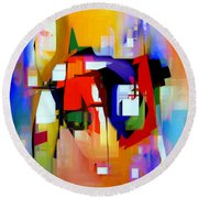 Abstract Series Iv Round Beach Towel by Rafael Salazar
