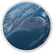 View Of Planet Earth From Space Showing Round Beach Towel