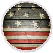 American Flag 58 Round Beach Towel