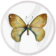 15 Clouded Apollo Butterfly Round Beach Towel