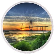 Lowcountry Sunset Round Beach Towel