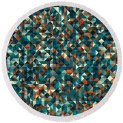 Retro Pixel Art Round Beach Towel