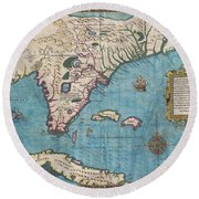 1591 De Bry And Le Moyne Map Of Florida And Cuba Round Beach Towel