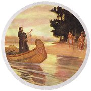 1600s 1600s Father Jacques Marquette Round Beach Towel