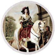 1600s Woman Riding Sidesaddle Painting Round Beach Towel