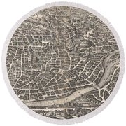 1652 Merian Panoramic View Or Map Of Rome Italy Round Beach Towel