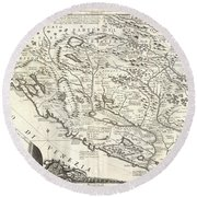 1690 Coronelli Map Of Montenegro Round Beach Towel