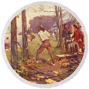 1700s 1764 Pierre Laclede Clearing Land Round Beach Towel