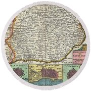 1747 La Feuille Map Of Catalonia Spain Round Beach Towel