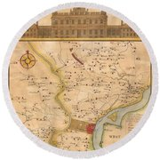 1752  Scull  Heap Map Of Philadelphia And Environs Round Beach Towel