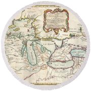 1755 Bellin Map Of The Great Lakes Round Beach Towel