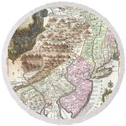 1756 Lotter Map Of Pennsylvania New Jersey And New York Round Beach Towel