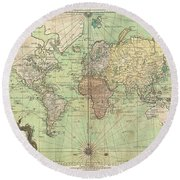 1778 Bellin Nautical Chart Or Map Of The World Round Beach Towel