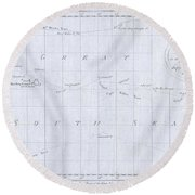 1780 Cook  Hogg Map Of Tahiti  Round Beach Towel