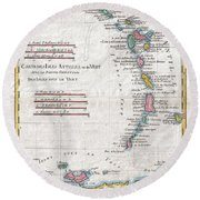 1780 Raynal And Bonne Map Of Antilles Islands Round Beach Towel