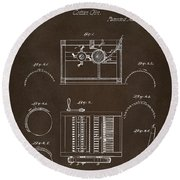 Round Beach Towel featuring the drawing 1794 Eli Whitney Cotton Gin Patent Espresso by Nikki Marie Smith