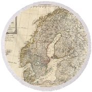 1794 Laurie And Whittle Map Of Norway Sweden Denmark And Finland Round Beach Towel