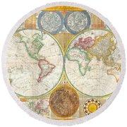 1794 Samuel Dunn Wall Map Of The World In Hemispheres Round Beach Towel