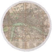 1795 Bowles Pocket Map Of London Round Beach Towel