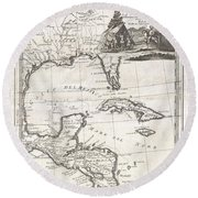 1798 Cassini Map Of Florida Louisiana Cuba And Central America Round Beach Towel