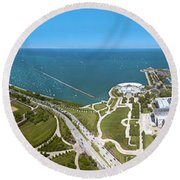 180 Degree View Of A City, Lake Round Beach Towel by Panoramic Images